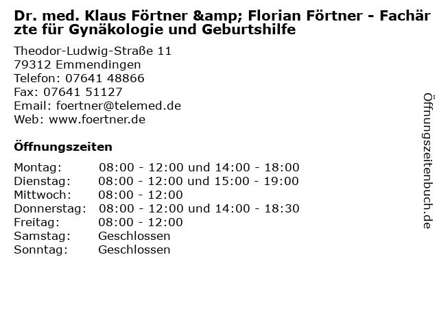 Dr. med. Klaus Förtner in Emmendingen: Adresse und Öffnungszeiten