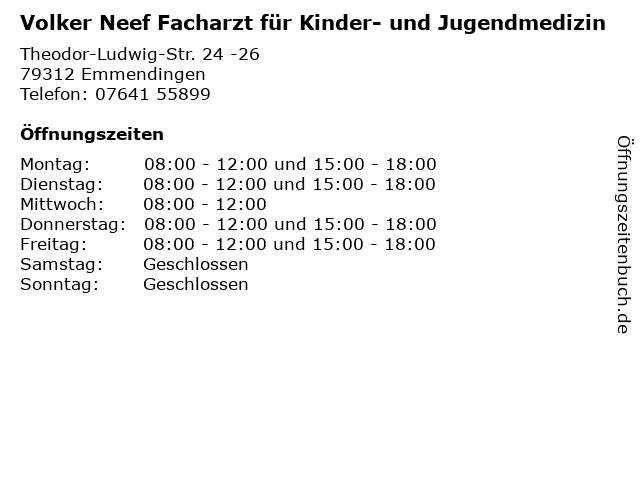 Volker Neef Facharzt für Kinder- und Jugendmedizin in Emmendingen: Adresse und Öffnungszeiten