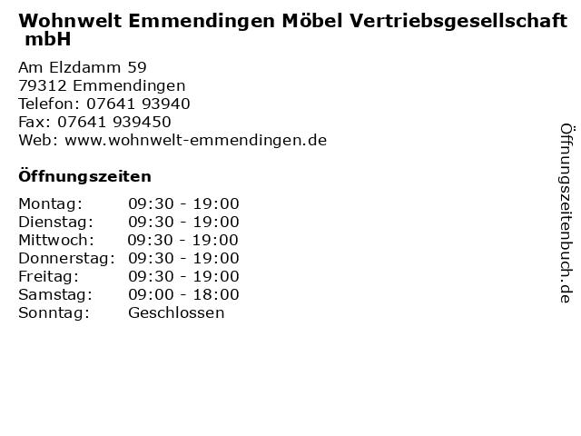 ᐅ öffnungszeiten Wohnwelt Emmendingen Möbel Vertriebsgesellschaft
