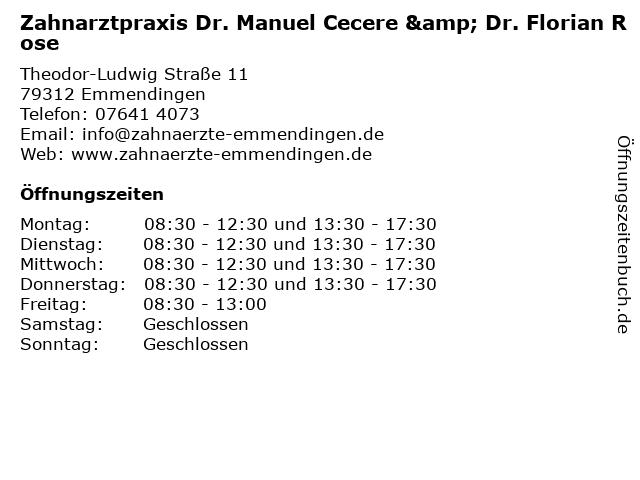Zahnarztpraxis Dr. Manuel Cecere & Dr. Florian Rose in Emmendingen: Adresse und Öffnungszeiten