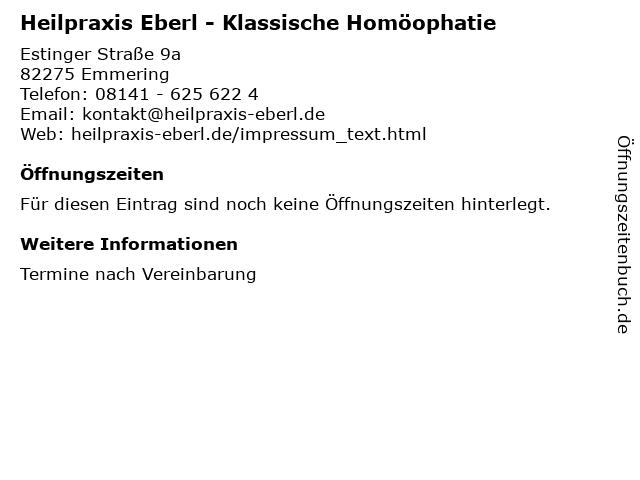 Heilpraxis Eberl - Klassische Homöophatie in Emmering: Adresse und Öffnungszeiten