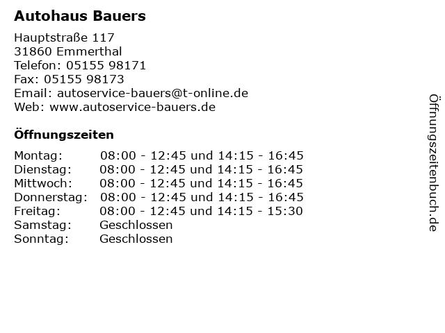 Autohaus Bauers in Emmerthal: Adresse und Öffnungszeiten