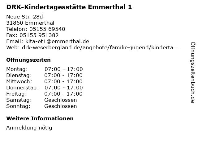 DRK-Kindertagesstätte Emmerthal 1 in Emmerthal: Adresse und Öffnungszeiten