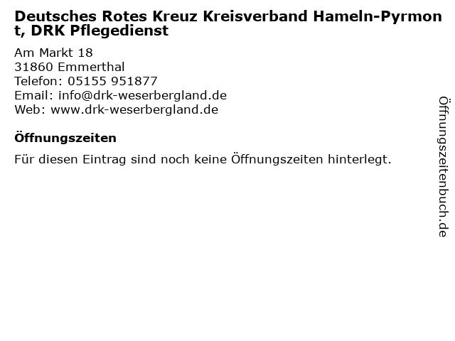Deutsches Rotes Kreuz Kreisverband Hameln-Pyrmont, DRK Pflegedienst in Emmerthal: Adresse und Öffnungszeiten