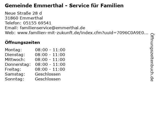 Gemeinde Emmerthal - Service für Familien in Emmerthal: Adresse und Öffnungszeiten