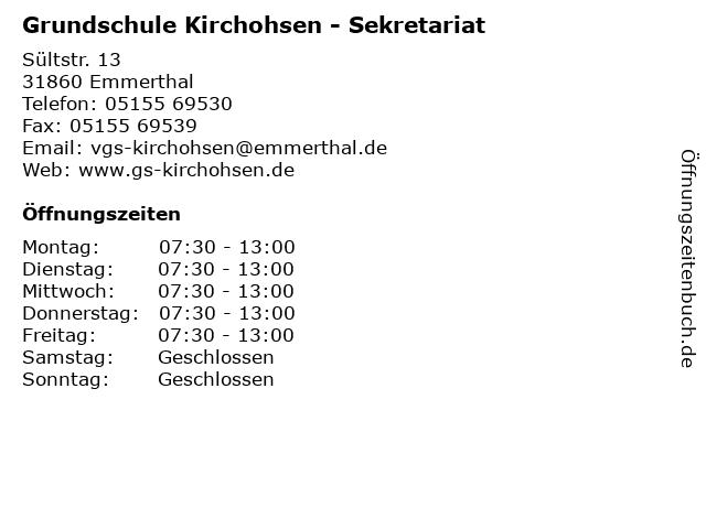 Grundschule Kirchohsen - Sekretariat in Emmerthal: Adresse und Öffnungszeiten