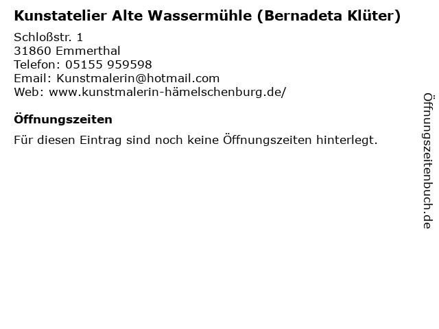 Kunstatelier Alte Wassermühle (Bernadeta Klüter) in Emmerthal: Adresse und Öffnungszeiten