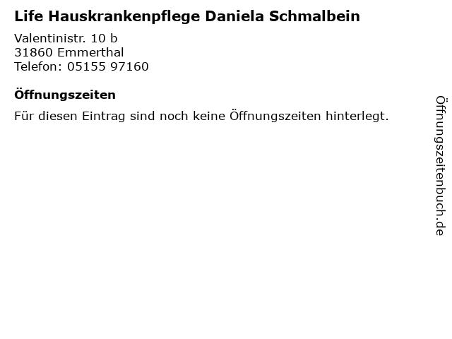 Life Hauskrankenpflege Daniela Schmalbein in Emmerthal: Adresse und Öffnungszeiten