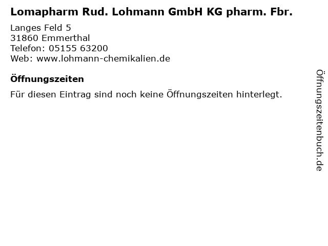 Lomapharm Rud. Lohmann GmbH KG pharm. Fbr. in Emmerthal: Adresse und Öffnungszeiten