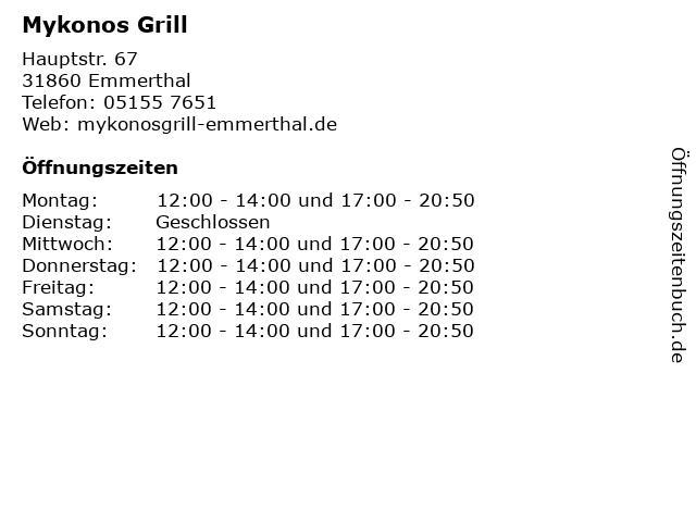 Mykonos Grill in Emmerthal: Adresse und Öffnungszeiten
