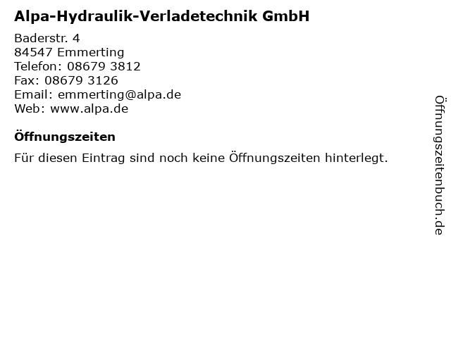 Alpa-Hydraulik-Verladetechnik GmbH in Emmerting: Adresse und Öffnungszeiten