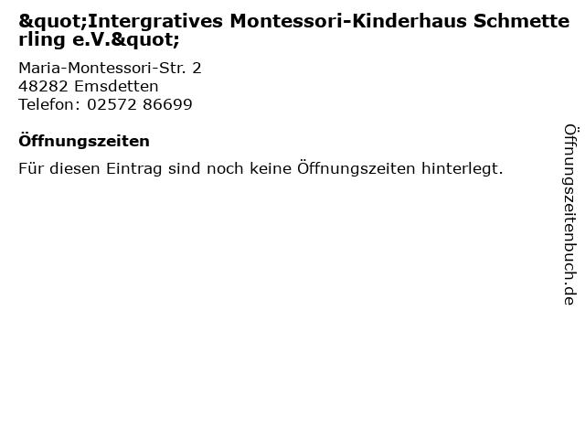 """""""Intergratives Montessori-Kinderhaus Schmetterling e.V."""" in Emsdetten: Adresse und Öffnungszeiten"""