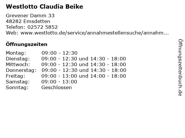 Westlotto Claudia Beike in Emsdetten: Adresse und Öffnungszeiten