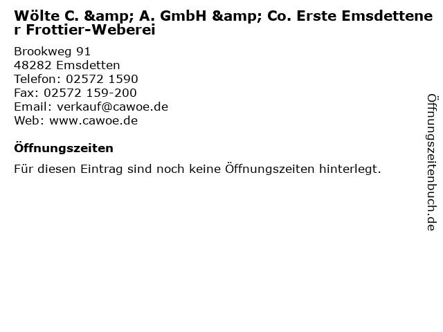 Wölte C. & A. GmbH & Co. Erste Emsdettener Frottier-Weberei in Emsdetten: Adresse und Öffnungszeiten