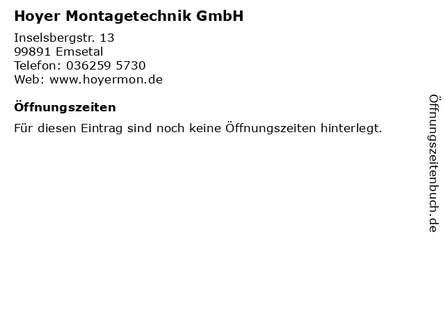 Hoyer Montagetechnik GmbH in Emsetal: Adresse und Öffnungszeiten