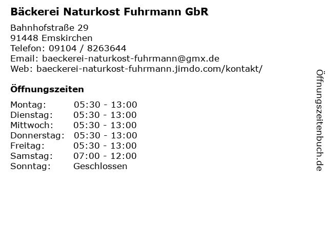 Bäckerei Naturkost Fuhrmann GbR in Emskirchen: Adresse und Öffnungszeiten