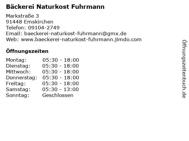 Bäckerei Naturkost Fuhrmann in Emskirchen: Adresse und Öffnungszeiten