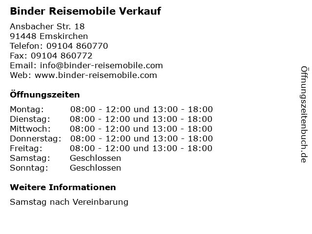 Binder Reisemobile Verkauf in Emskirchen: Adresse und Öffnungszeiten