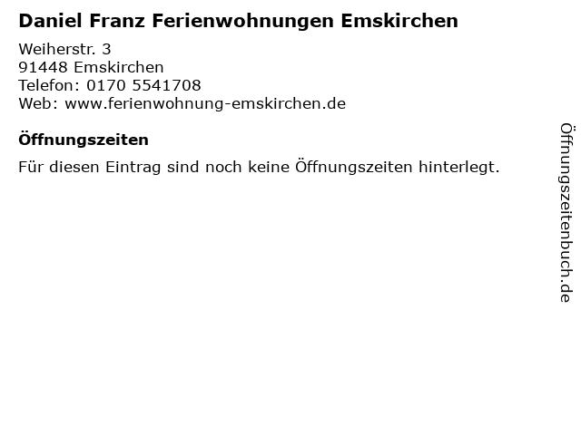 Daniel Franz Ferienwohnungen Emskirchen in Emskirchen: Adresse und Öffnungszeiten