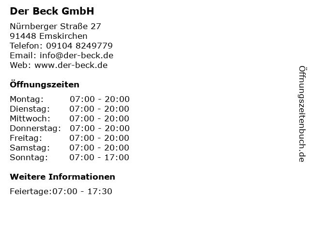Der Beck GmbH in Emskirchen: Adresse und Öffnungszeiten