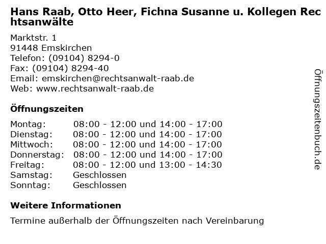 Hans Raab, Otto Heer, Fichna Susanne u. Kollegen Rechtsanwälte in Emskirchen: Adresse und Öffnungszeiten