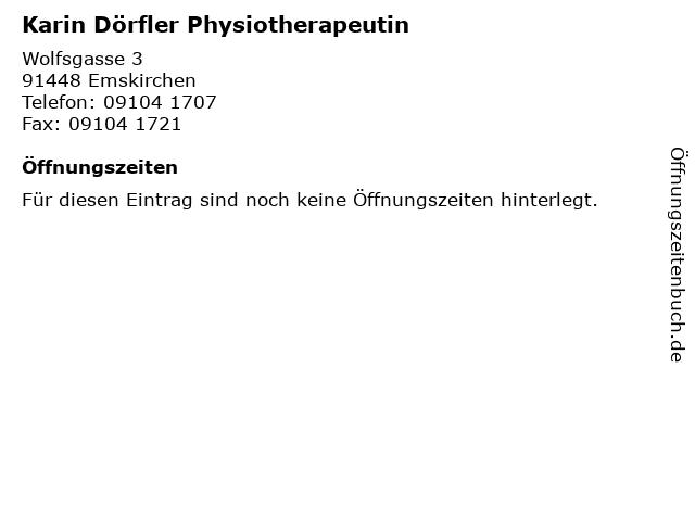 Karin Dörfler Physiotherapeutin in Emskirchen: Adresse und Öffnungszeiten