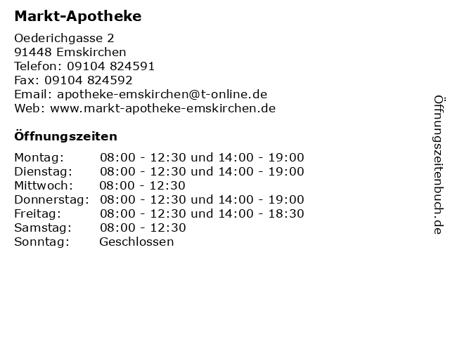 Markt Apotheke Emskirchen in Emskirchen: Adresse und Öffnungszeiten