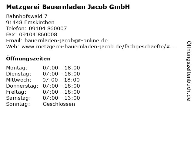 Metzgerei Bauernladen Jacob GmbH in Emskirchen: Adresse und Öffnungszeiten