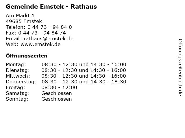 Gemeinde Emstek - Rathaus in Emstek: Adresse und Öffnungszeiten