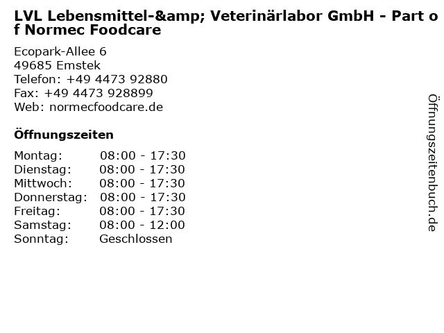 LVL Lebensmittel-& Veterinärlabor GmbH in Emstek: Adresse und Öffnungszeiten