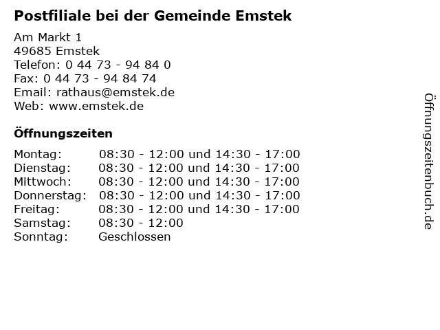 Postfiliale bei der Gemeinde Emstek in Emstek: Adresse und Öffnungszeiten