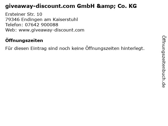 giveaway-discount.com GmbH & Co. KG in Endingen am Kaiserstuhl: Adresse und Öffnungszeiten
