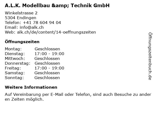 A.L.K. Modellbau & Technik GmbH in Endingen: Adresse und Öffnungszeiten