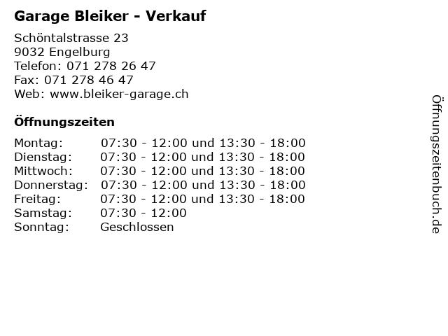 Garage Bleiker - Verkauf in Engelburg: Adresse und Öffnungszeiten