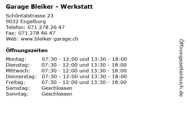 Garage Bleiker - Werkstatt in Engelburg: Adresse und Öffnungszeiten