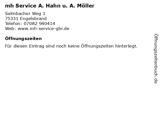 mh Service A. Hahn u. A. Möller in Engelsbrand: Adresse und Öffnungszeiten