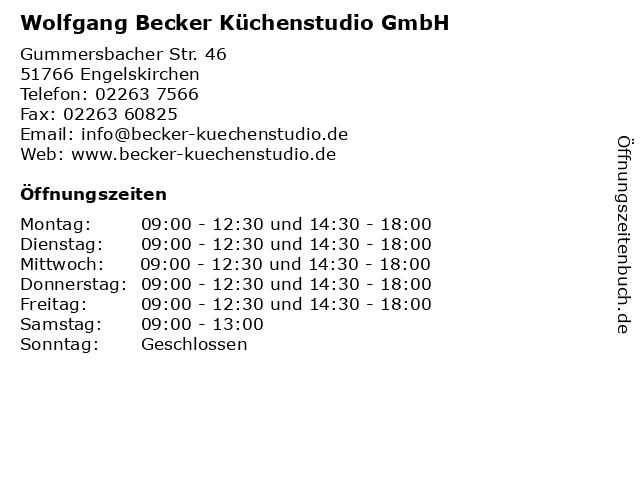 ᐅ Offnungszeiten Wolfgang Becker Kuchenstudio Gmbh Gummersbacher