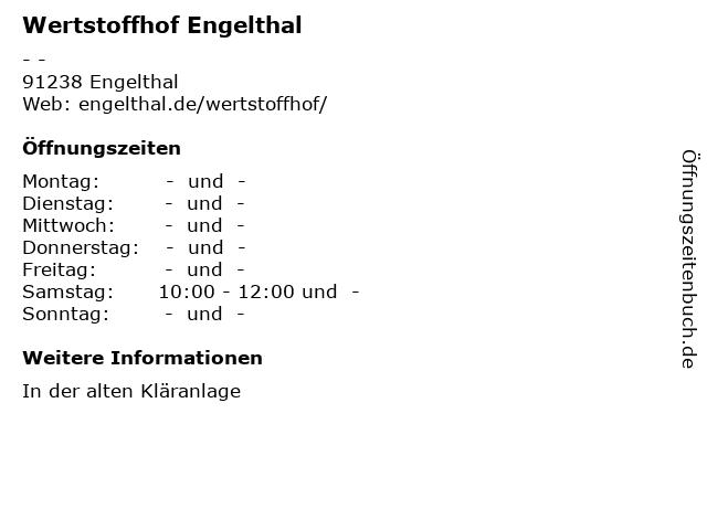 Wertstoffhof Engelthal in Engelthal: Adresse und Öffnungszeiten