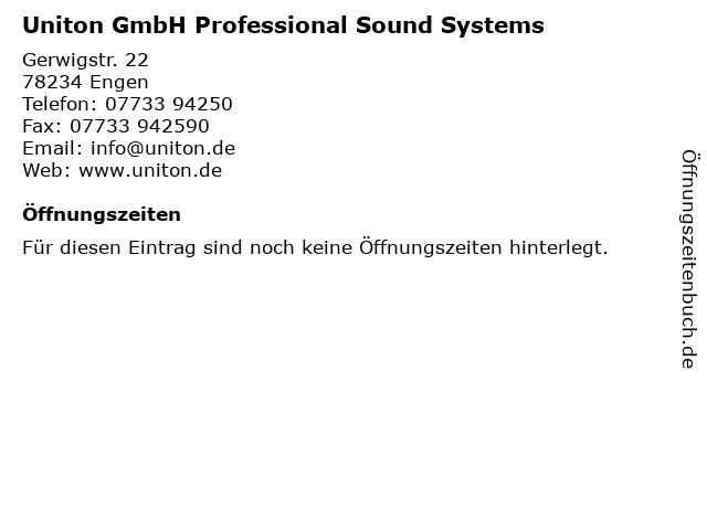 Uniton GmbH Professional Sound Systems in Engen: Adresse und Öffnungszeiten