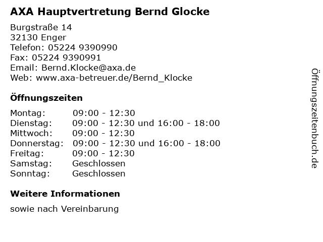 AXA Hauptvertretung Bernd Glocke in Enger: Adresse und Öffnungszeiten