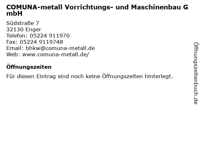 COMUNA-metall Vorrichtungs- und Maschinenbau GmbH in Enger: Adresse und Öffnungszeiten