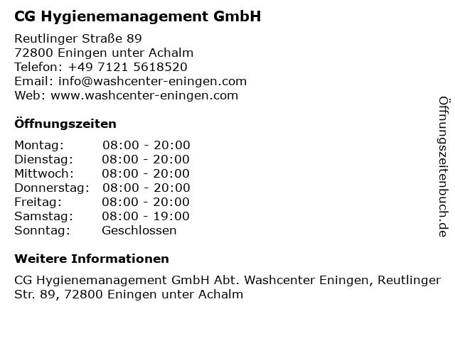 CG Hygienemanagement GmbH in Eningen unter Achalm: Adresse und Öffnungszeiten
