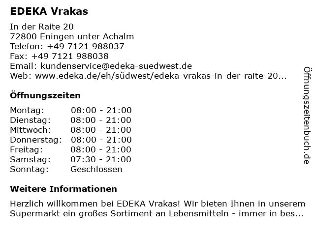 EDEKA Vrakas in Eningen unter Achalm: Adresse und Öffnungszeiten