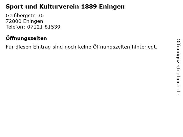 Sport und Kulturverein 1889 Eningen in Eningen: Adresse und Öffnungszeiten