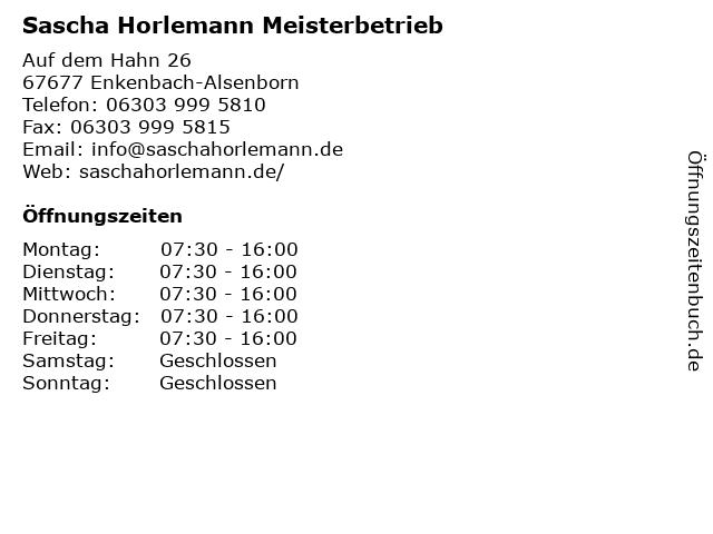 Sascha Horlemann Meisterbetrieb in Enkenbach-Alsenborn: Adresse und Öffnungszeiten