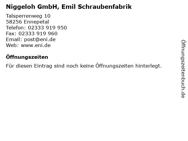 Niggeloh GmbH, Emil Schraubenfabrik in Ennepetal: Adresse und Öffnungszeiten