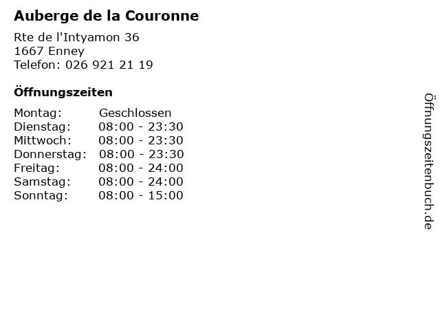 Auberge de la Couronne in Enney: Adresse und Öffnungszeiten