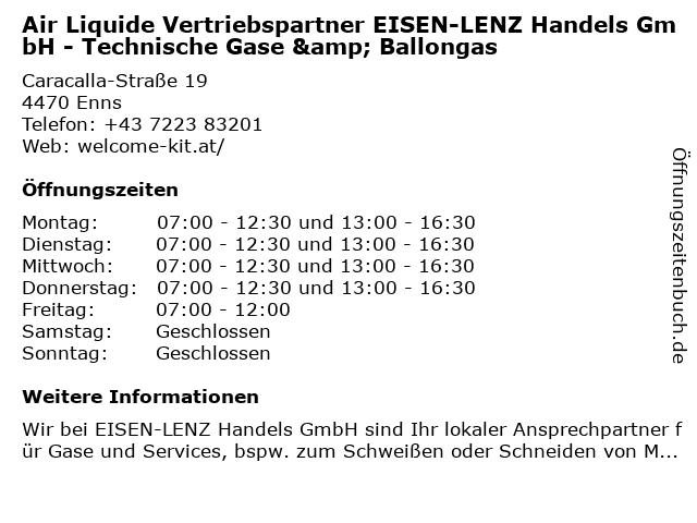 Air Liquide Vertriebspartner EISEN-LENZ Handels GmbH - Technische Gase & Ballongas in Enns: Adresse und Öffnungszeiten