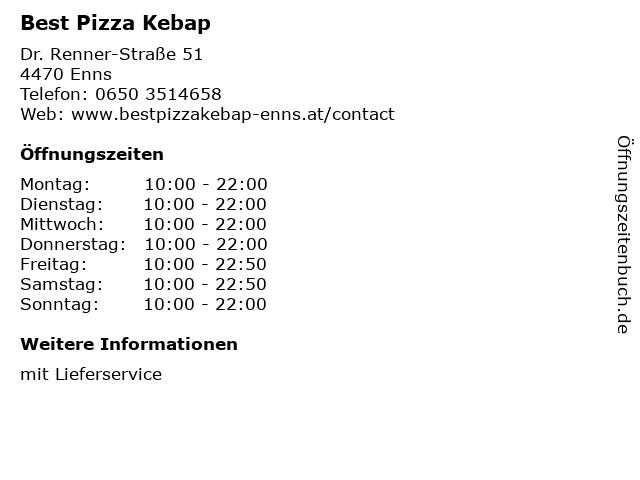 Best Pizza Kebap in Enns: Adresse und Öffnungszeiten