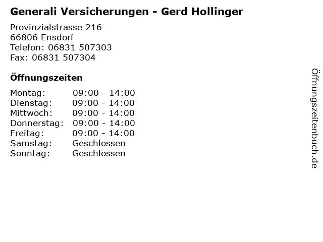 Generali Versicherungen - Gerd Hollinger in Ensdorf: Adresse und Öffnungszeiten